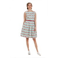 Betty Floral Stripe Print Dress