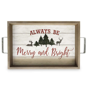 Always Be Merry & Bright Tree & Deer Serving Tray