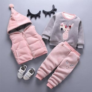 Cartoon Pattern Autumn Winter Warm Toddler Clothing Suit