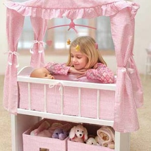 Doll Crib with Canopy and Fabric Baskets