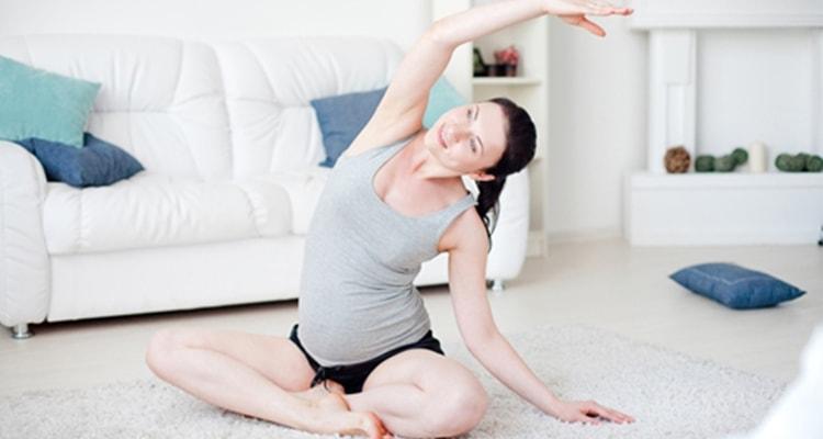 mom doing yoga