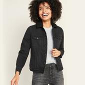 Sherpa-Lined Black Jean Jacket for Women