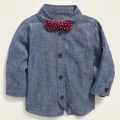 Chambray Shirt & Polka-Dot Bow-Tie Set for Baby