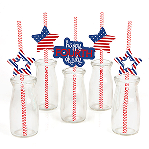 Patriotic Straws at Amazon