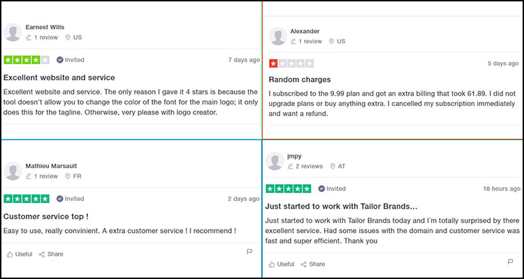 tailor brands user reviews from trust pilot