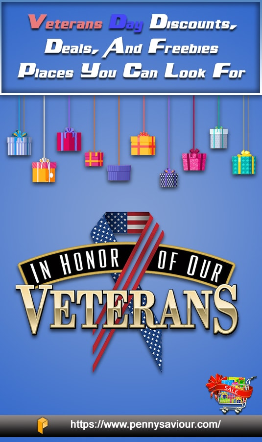 Veterans Day Discounts Deals & Freebies Pinterest Image