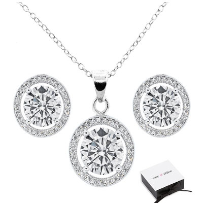ariel 18k white gold earrings and necklace jewelry set deal pack