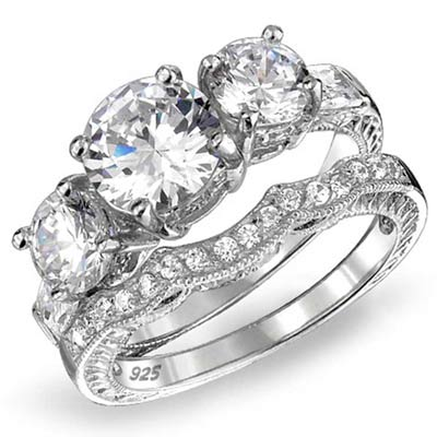cz three stone engagement ring in sterling silver
