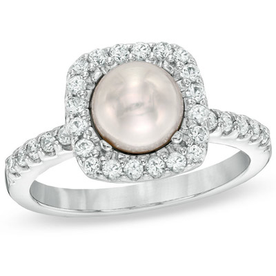 huge pearl and diamond ring in sterling silver