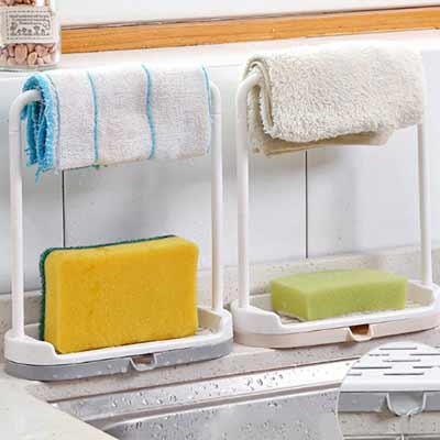 kitchen countertop towel and sponge rack with drain