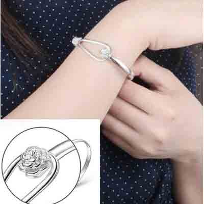 solid silver flower clasp bangle deal pack
