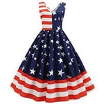 Vintage Cocktail Dress 4th Of July The Stars And The Stripes Women 1950s Swing Dress
