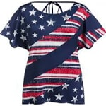 Plus Size American Flag Draped Backless Tunic Tee