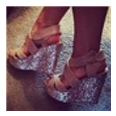 Sandals PU Peep Toe Sequin Wedge Shoes