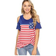 Twisted American Flag Print Cold Shoulder Blue Casual T Shirt
